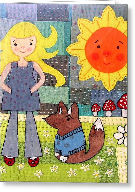 Whimsical Tapestries - Textiles Greeting Cards - Rhian And Nog Greeting Card by Julie Bull