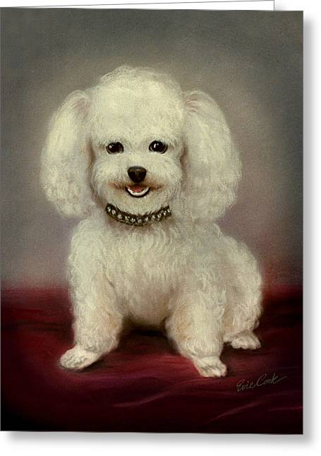Recently Sold -  - Puppies Pastels Greeting Cards - Rhinestone Collar Greeting Card by Evie Cook