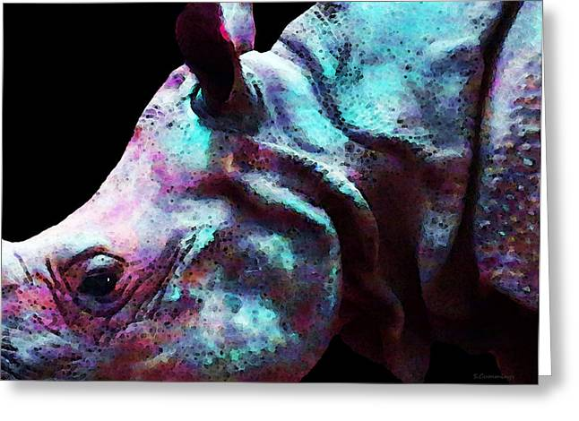 Rhino 1 - Rhinoceros Art Prints Greeting Card by Sharon Cummings