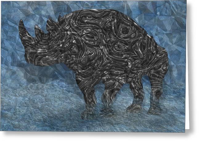 Rhinoceros Digital Greeting Cards - Rhino 5 Greeting Card by Jack Zulli