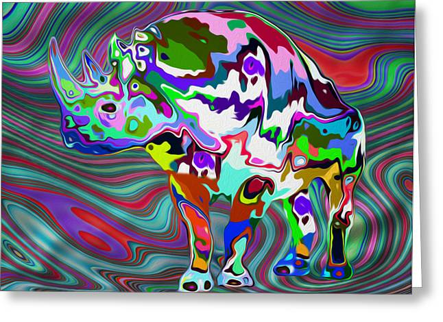 Abstracted Colorful Reality Greeting Cards - Rhino - Abstract 2 Greeting Card by Jack Zulli