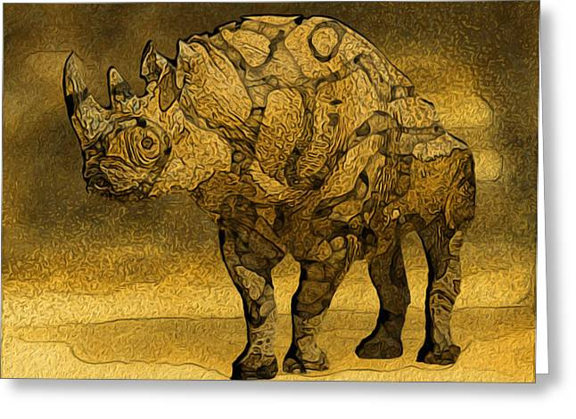 Rhinocerotidae Greeting Cards - Rhino - Abstract Greeting Card by Jack Zulli