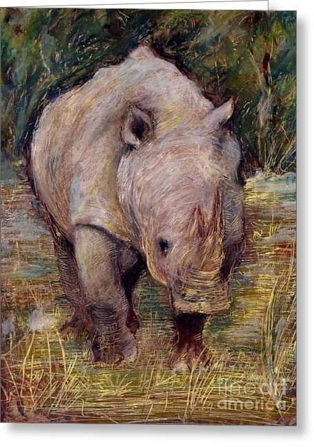 Rhinoceros Pastels Greeting Cards - Rhino Greeting Card by Agnieszka Grecka
