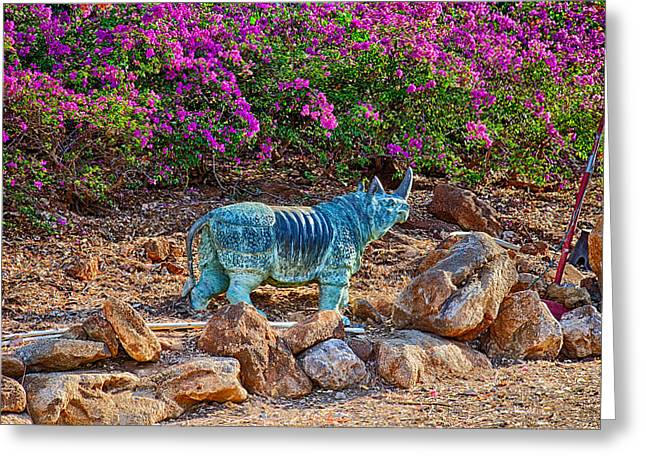 Pinks And Purple Petals Mixed Media Greeting Cards - Rhino and Bougainvillea Greeting Card by Omaste Witkowski