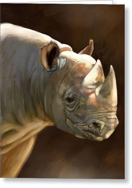 Rhinoceros Digital Greeting Cards - Rhino Greeting Card by Arie Van der Wijst