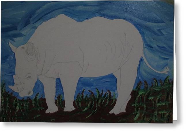 Rhinoceros Drawings Greeting Cards - Rhino Greeting Card by Barbara Yearty