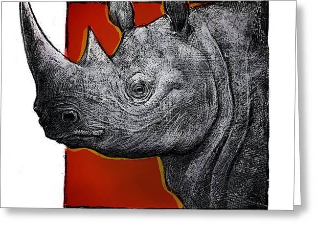 Rhinoceros Drawings Greeting Cards - Rhino Greeting Card by Chris Van Es