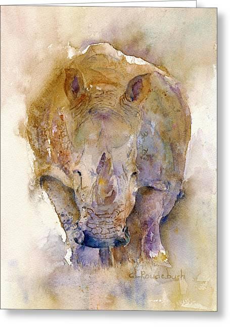 Rhinoceros Paintings Greeting Cards - Rhino Greeting Card by Cynthia Roudebush