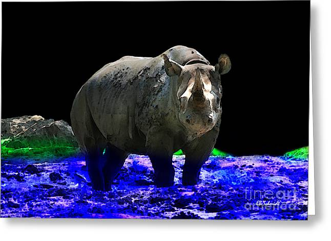 Rhinoceros Mixed Media Greeting Cards - Rhino Greeting Card by E B Schmidt