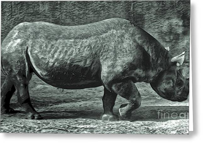 Gregory Dyer Digital Greeting Cards - Rhino Greeting Card by Gregory Dyer