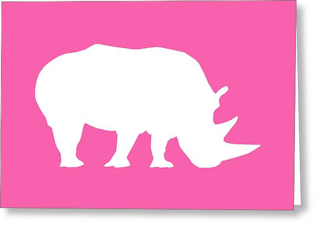 Recently Sold -  - Rhinoceros Greeting Cards - Rhino in Pink and White Greeting Card by Jackie Farnsworth