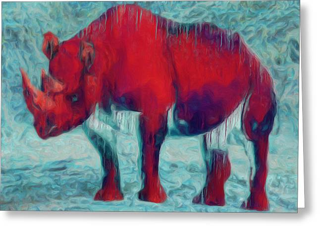 Paint Photograph Greeting Cards - Rhino Greeting Card by Jack Zulli