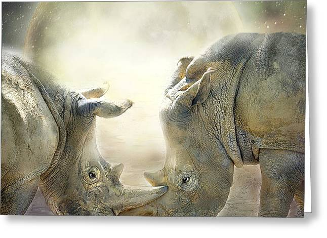 African Greeting Greeting Cards - Rhino Love Greeting Card by Carol Cavalaris
