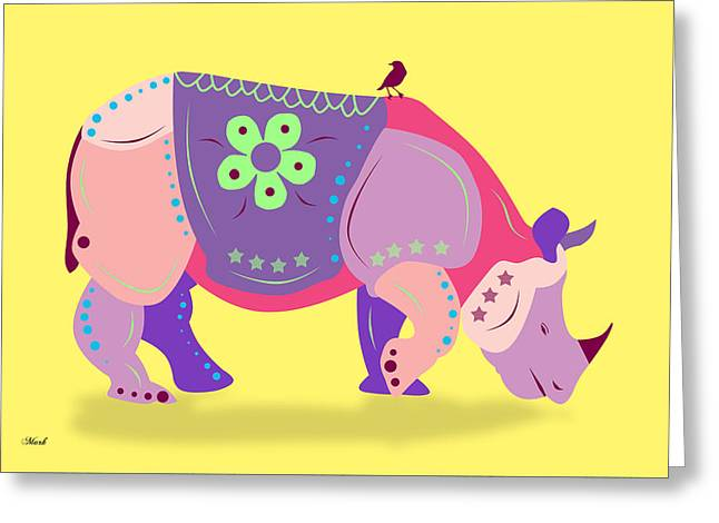 Domestic Digital Greeting Cards - Rhino Greeting Card by Mark Ashkenazi