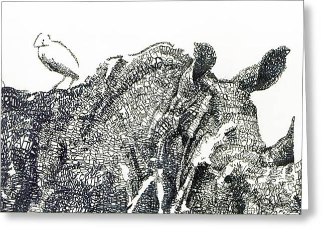 Rescue Drawings Greeting Cards - Rhino Greeting Card by Michael  Volpicelli