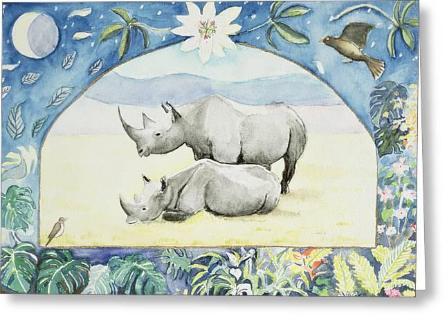 Rhinoceros Greeting Cards - Rhino Month Of February From A Calendar Greeting Card by Vivika Alexander