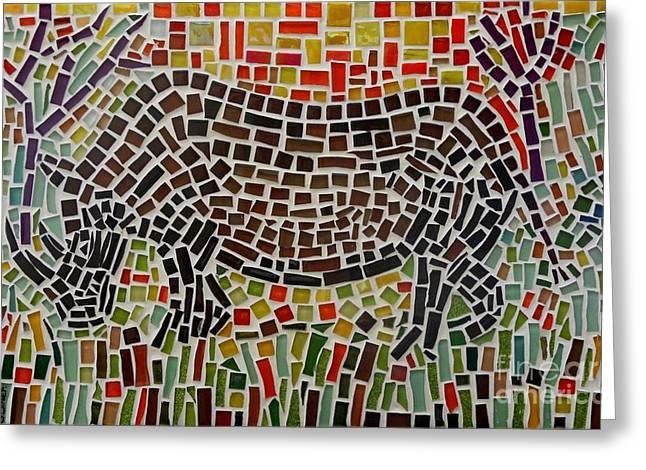 African Glass Art Greeting Cards - Rhino Mosaic Greeting Card by Caroline Street