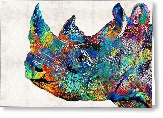 Rhinoceros Greeting Cards - Rhino Rhinoceros Art - Looking Up - By Sharon Cummings Greeting Card by Sharon Cummings