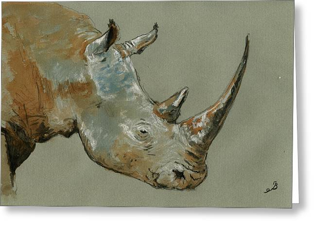 Rhinos Greeting Cards - Rhino study Greeting Card by Juan  Bosco