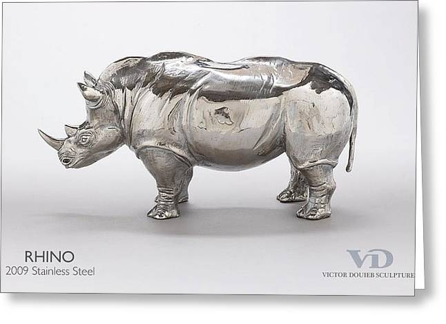 Rhinoceros Sculptures Greeting Cards - Rhino Greeting Card by Victor Douieb