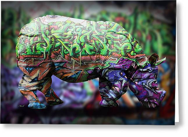 Domestic Digital Greeting Cards - Rhino4 Greeting Card by Mark Ashkenazi