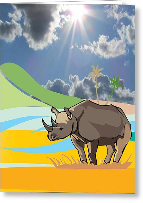 Rhinoceros Greeting Cards - Rhinoceros At The Zoo Greeting Card by Vickie Collyer