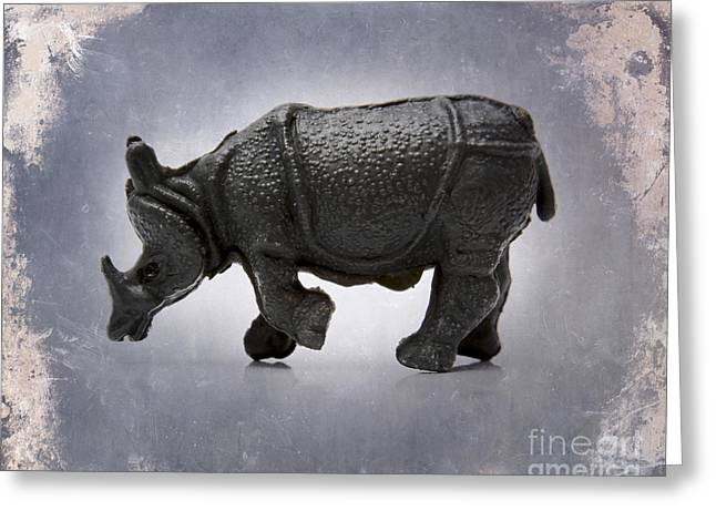 Rhinoceros Greeting Card by BERNARD JAUBERT