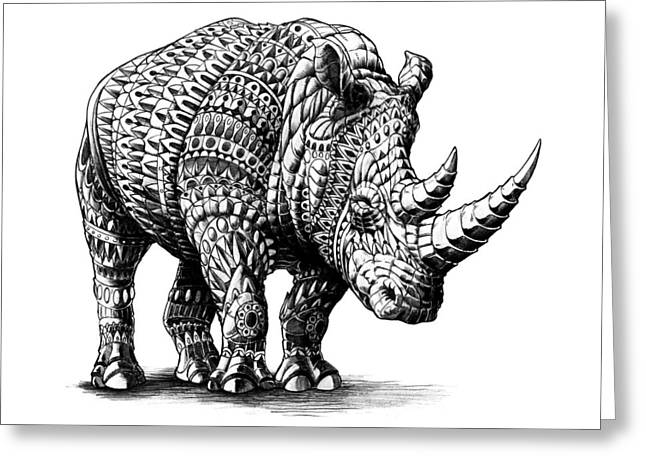 Drawings Greeting Cards - Rhinoceros Greeting Card by BioWorkZ