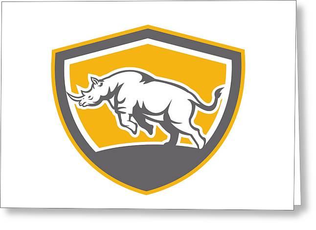 Rhinoceros Greeting Cards - Rhinoceros Charging Side Shield Retro Greeting Card by Aloysius Patrimonio