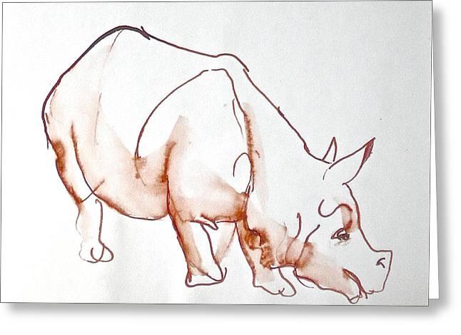 Mammals Jewelry Greeting Cards - Rhinoceros Greeting Card by Deborah Dendler