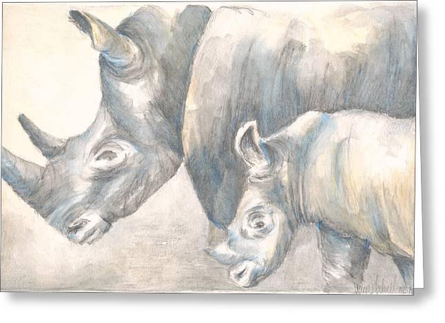 Rhinoceros Drawings Greeting Cards - Rhinoceros Greeting Card by Leanne Blackwell