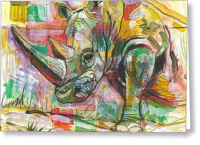 Rhinoceros Mixed Media Greeting Cards - Rhinoceros Love Greeting Card by Elizabeth D