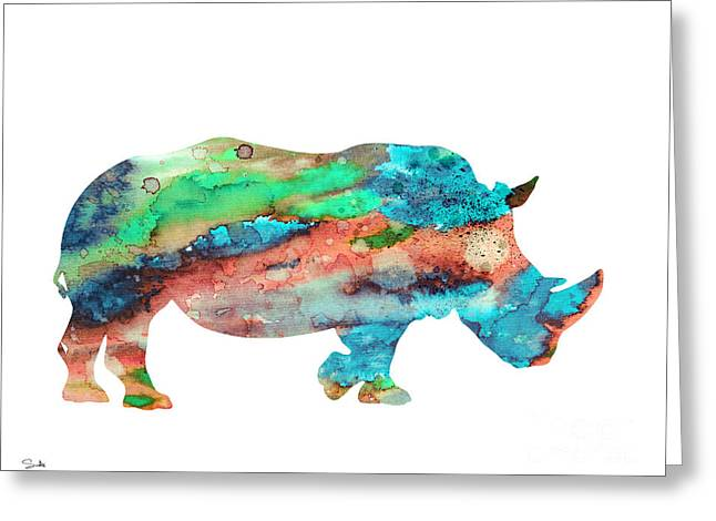 Rhinoceros Greeting Cards - Rhinoceros  Greeting Card by Luke and Slavi