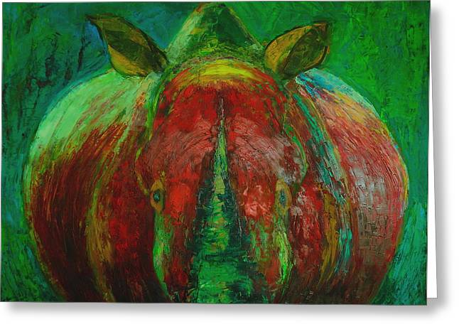 Recently Sold -  - Rhinoceros Greeting Cards - Rhinocerus Greeting Card by Magdalena Walulik