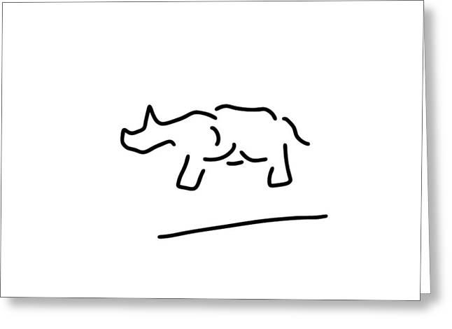 Rhinoceros Drawings Greeting Cards - rhinoceros safari Africa Greeting Card by Lineamentum