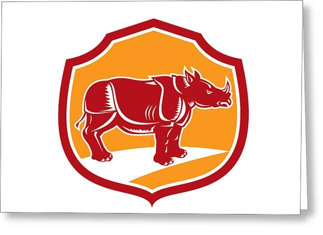 Rhinoceros Greeting Cards - Rhinoceros Standing Shield Retro Greeting Card by Aloysius Patrimonio