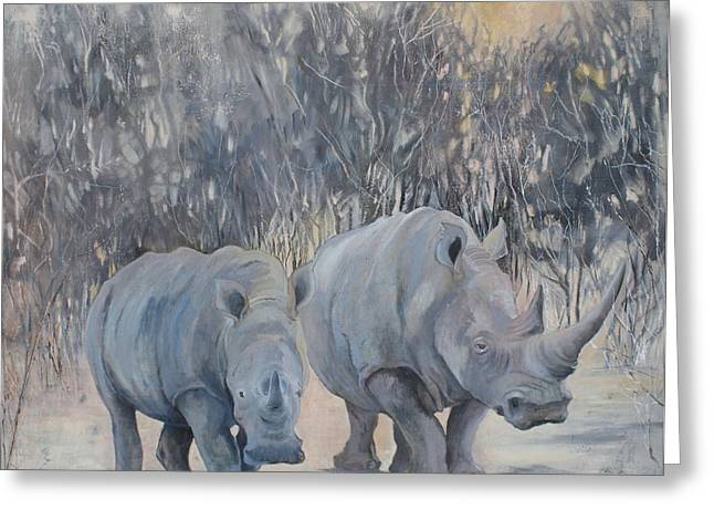 Rhinoceros Greeting Cards - Rhinos at Sunset Greeting Card by Madge Bright