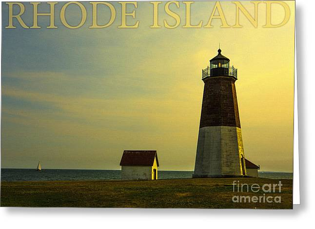 New England Ocean Greeting Cards - Rhode Island Lighthouse Greeting Card by Diane Diederich