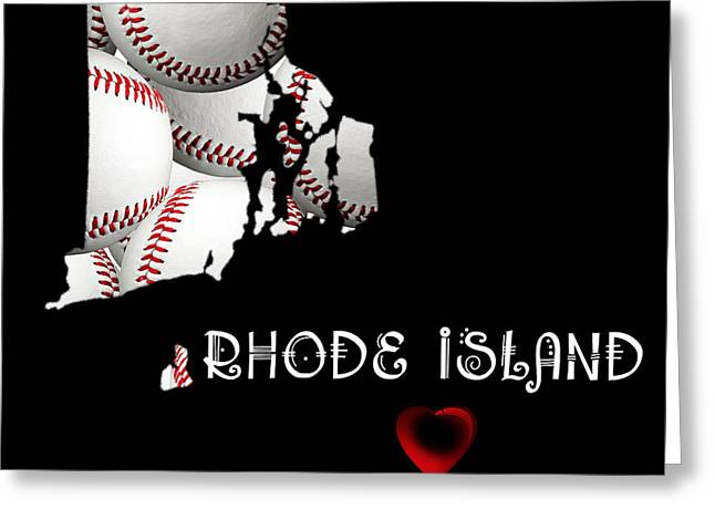Rhode Island State Map Greeting Cards - Rhode Island Loves Baseball Greeting Card by Andee Design