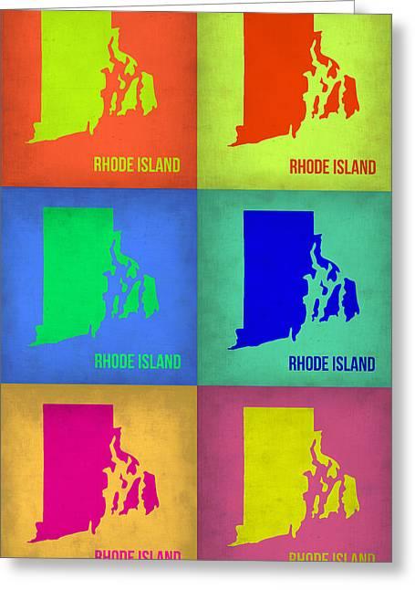 Rhode Greeting Cards - Rhode Island Pop Art Map 1 Greeting Card by Naxart Studio