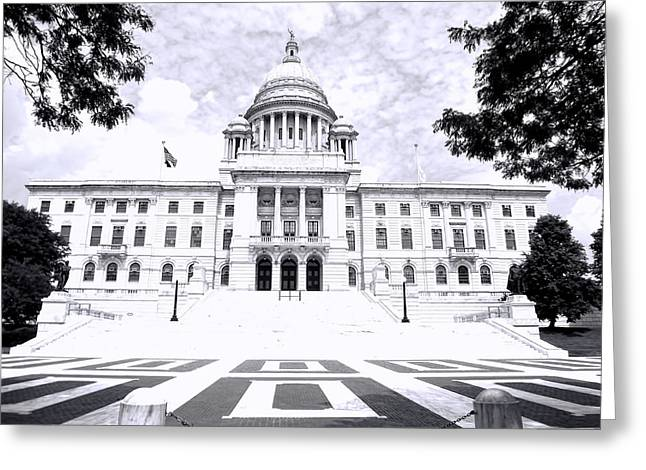 Historical Buildings Photographs Greeting Cards - Rhode Island State House BW Greeting Card by Lourry Legarde