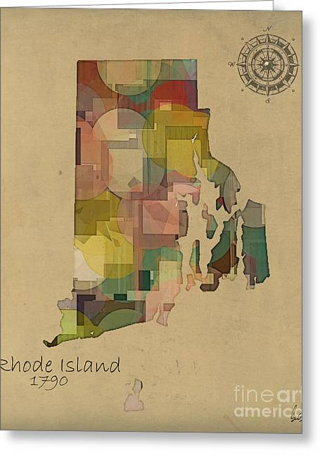 Rhode Island State Map Greeting Cards - Rhode Island State Map Greeting Card by Bri Buckley