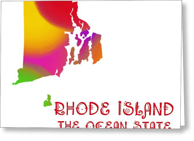Rhode Island State Map Greeting Cards - Rhode Island State Map Collection 2 Greeting Card by Andee Design