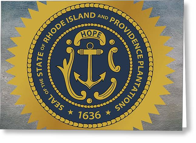 Despair Greeting Cards - Rhode Island State Seal Greeting Card by Movie Poster Prints