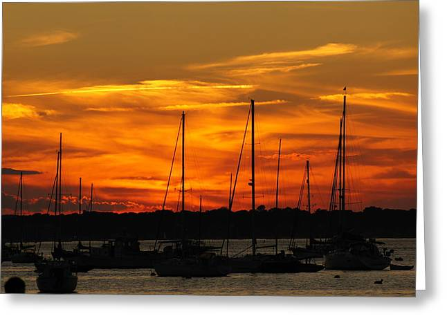 Boats At Dock Greeting Cards - Rhode Island Sunset Greeting Card by Happy Events  International