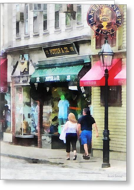 Designs By Susan Greeting Cards - Rhode Island - Thames Street Newport RI Greeting Card by Susan Savad