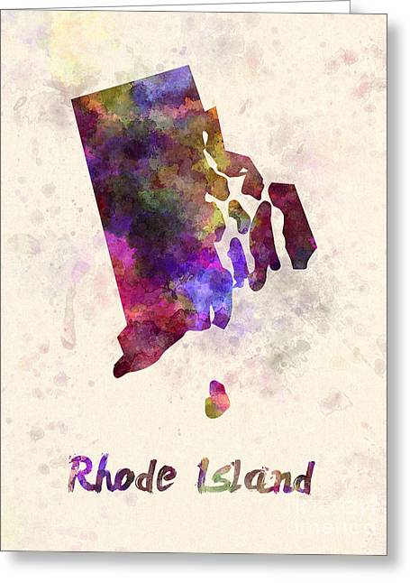 Rhode Island State Map Greeting Cards - Rhode Island US state in watercolor Greeting Card by Pablo Romero