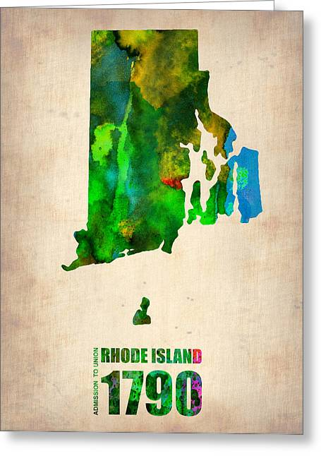 Rhode Island State Map Greeting Cards - Rhode Island Watercolor Map Greeting Card by Naxart Studio
