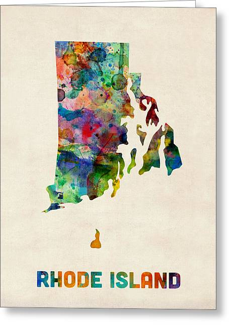 Cartography Digital Greeting Cards - Rhode Island Watercolor Map Greeting Card by Michael Tompsett