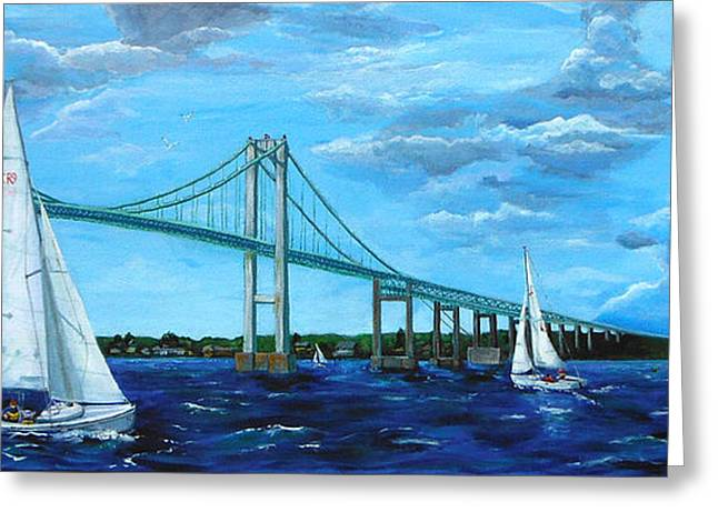 Recently Sold -  - Bay Bridge Greeting Cards - Rhodes Sailing by the Pell Bridge Greeting Card by Pat St Onge